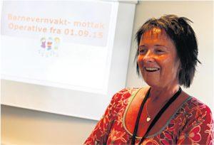 EMOSJONELL DAG:Barnevernsleder I Arendal Kommune Svenny Karlson Ble Rent Emosjonell Da Hun Presenterte Den Nye Barnevernsvakta.