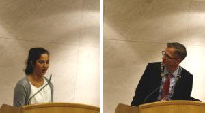 FAR OG DATTER: Ramani Cornels Nordli Er Nyvalgt Leder For Ungdommens Bystyre. Torsdag Traff Hun Sin Far, Ordføreren, I Bystyresalen På Formelt Vis. Foto/Montasje: Esben Holm Eskelund
