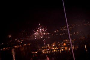 Raketter Over Tromøya Sett Fra Skibberhei, Blir Det Like Klart I Morgen? Arkivfoto
