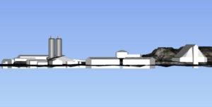 MEGASILO: Fire Store Siloer Vil Rage Høyt Over De Eksisterende Bygningene På Samme Område På Arendal Havn Eydehavn. Illustrasjon: Fra Saksfremlegget