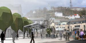 SALGSBOD: En Arbeidsgruppe For Torvet Foreslår å Bygge Tak Over Deler Av Området Til Bruk Som Blant Annet Salgsboder. Fotomontasje/Esben Holm Eskelund