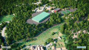 SKOLEBYGGET: Rambøll AS Har Illustrert Hvordan Skolebygget Setter Avtrykk I Forkant Av Tromøyhallen. Illustrasjon: Rambøll