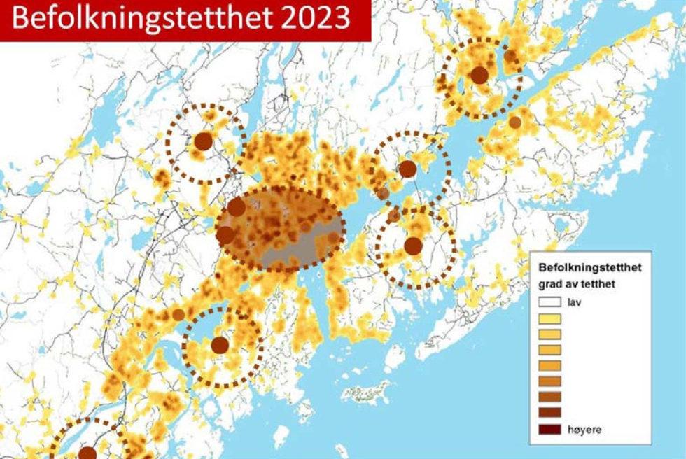UTVIKLING: Slik Ser Byplanleggerne For Seg Hvordan Tyngdepunktene I Befolkningen I Arendal Vil Se Ut Om Sju år. Illustrasjon: Arendal Kommune