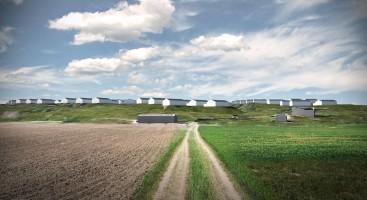 HYTTEBY VED ALVE: Alveberget hyttefelt slik konsulentselskapet Rambøll illustrerer området. Eksisterende bygninger er gråfarget, mens ny bebyggelse er markert med hvit farge. Illustrasjon: Rambøll