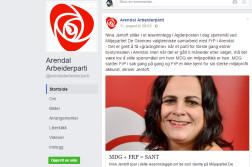 PERSONSJIKANE: Kommentarer til dette debattinnlegget på Arendal Arbeiderpartis Facebook, har fått Høyre til å rope varsko om politikermobbing i kommunen. Faksimile: Arendal Arbeiderparti/ Facebook