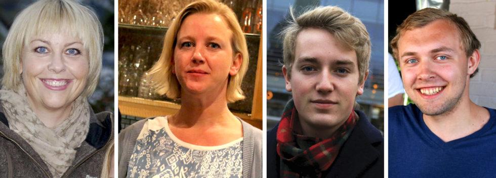 HØYRENOMINERT: Fra Venstre: Nina Roland, Gunn Brekka, Haagen Poppe Og Erik Johan Tellefsen Lindø. Fotomontasje