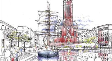 NORDENS VENEDIG: Slik ble en indre poll, der Sam Eydes plass ligger i dag, illustrert i 1995 i et forprosjekt om kanal i Arendal. Illustrasjon: Drange og Aanensen