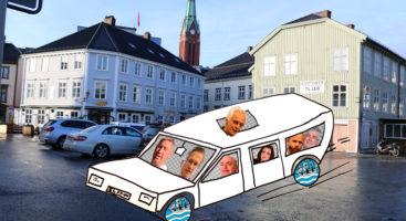 BILFRITT SENTRUM: Det vil kreve politisk klokskap for fempartiene for å gjøre Arendal sentrum til landets første bilfrie, for det kommer garantert til å bli bråkete i baksetet. Illustrasjon/Fotomontasje: Esben Holm Eskelund