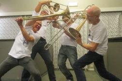 """GLADE TROMBONISTER: Til lørdag byr trombonekvartetten """"De ventilløse"""" på glad musikk i Buen Kafébar. Pressefoto"""