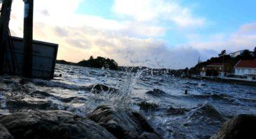 ROLIG SJØ: Hadde det i tillegg vært mye vind, ville nok bølgene kunne slått enda høyere på Rævesand torsdag. Foto: Esben Holm Eskelund