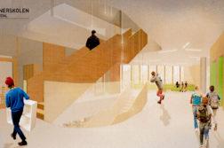 STEINERSKOLEN: Den private skolen ønsker seg et nytt bygg i tre etasjer, og spør kommunen om lånegaranti. Illustrasjon: Asplan Viak