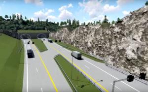 TRÆFJELLTUNNELEN: En 180 Meter Lang Tunnel Er Planlagt, Men Venstre-politiker Jan Kløvstad Frykter At Nye Veier As I Stedet Sprenger En Fjellskjæring. Illustrasjon: 3D/Nye Veier