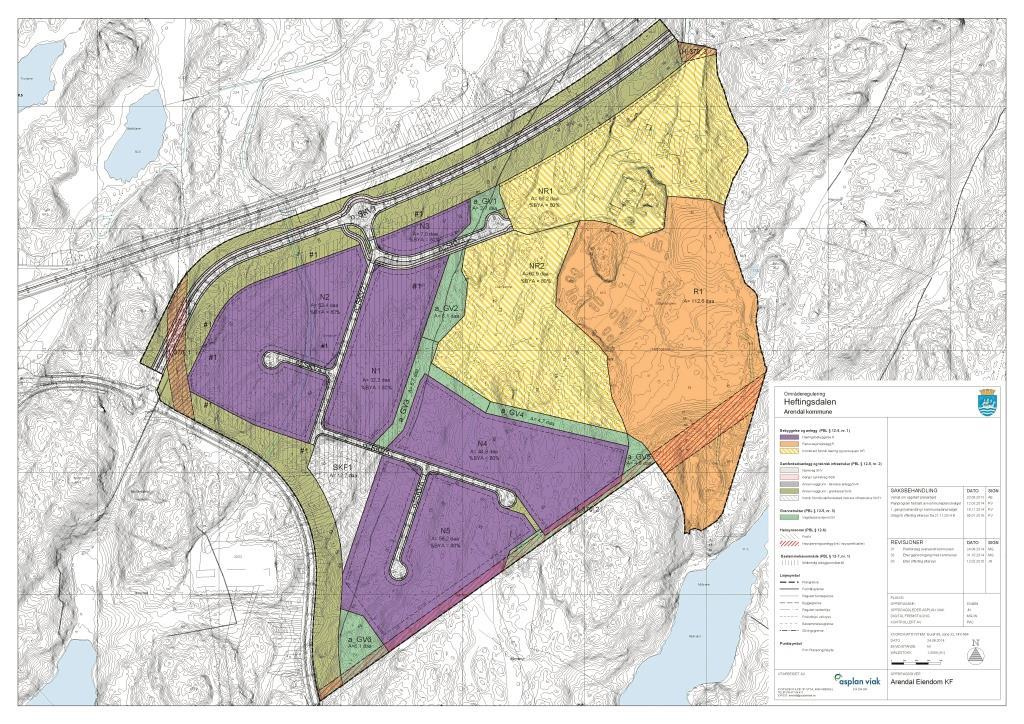 Plankart over Heftingdalen. Illustrasjon: Asplan Viak
