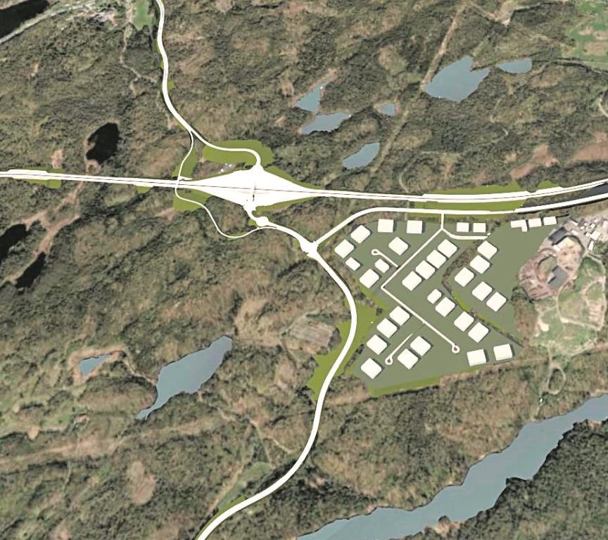 PLANLAGT: Oversiktsbilde Med Nytt E18-kryss, Ny Krøgenesvei Og Heftingdalen Til Høyre. Illustrasjon: Asplan Viak