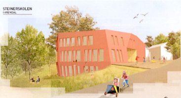 VIL BYGGE UT: Steinerskolen i Arendal vil bygge ut, men så langt har bystyret vært knegne med å garantere for lånet. IIustrasjon: Asplan Viak