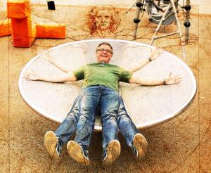 IDEALET: Leonardo Da Vincis Vitruvianske Mann Er Symbolet På De Perfekte Proposisjoner. Freddy Er Mer Opptatt Av Rettferdighet Enn Perfeksjon. Foto: Esben Holm Eskelund/Montasje: Maria Åsheim