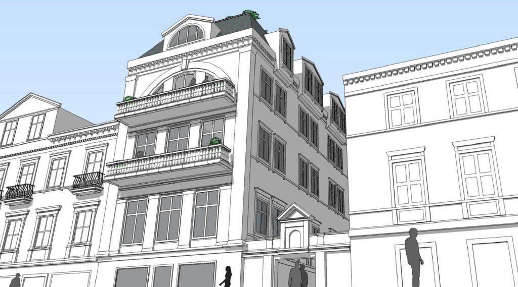 THOMMESENGÅRDEN: Noen nye etasjer, balkonger og påheng av balkonger kan gi den bakre delen av Thommesengården mot gågaten et løft. Illustrasjon: Ark-Tek Design