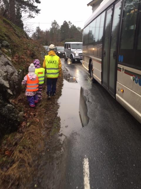TRANGT: Det Er Trangt Om Plassen Når Skolebarna Møter Biler Og Busser Langs Rævesandsveien. Foto: Privat
