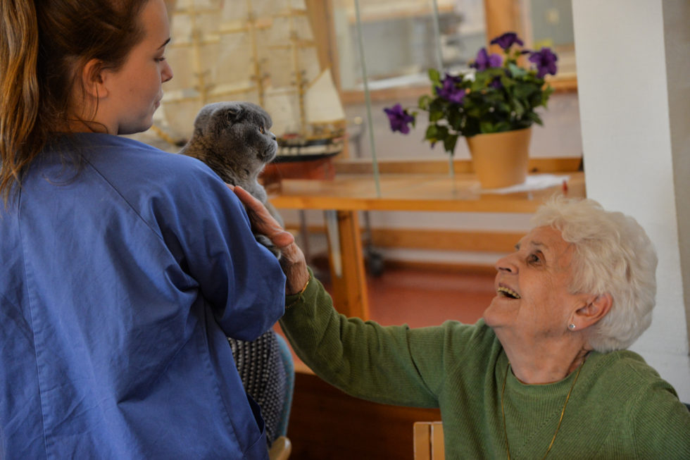 GLEDE: Det Vises Mye Glede Når Både Dyr Og Mennesker Kommer På Besøk Til Livsgledehjemmet. Foto: Linda Dyrholm