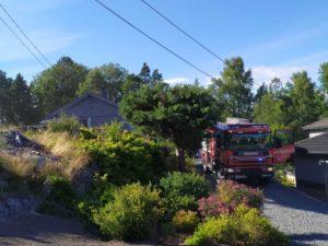 RASK KONTROLL: Brannvesent Fikk Raskt Kontroll På Brannen I Rådyrveien På Tromøy.