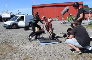 FILMTEAMET: Teamet Bak Lo Film I Flosta, F. V. Produsent Øivind Solfjell, Fotograf Tarald Aaby, Hovedskuespiller Frank Dåbu Og Regissør Frank Songedal.
